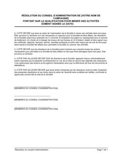 Résolution du CA portant autorisation de conduite d'activité