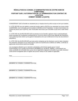 Résolution du CA portant sur fin d'un contrat de location