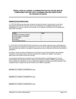 Résolution du CA portant sur la nomination de directeurs