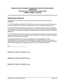 Résolution du CA portant sur le choix d'un consultant