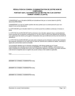 Résolution du CA sur l'autorisation de mettre fin à un contrat