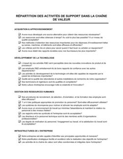 Fiche d'évaluation des activités de support de la chaîne de valeur
