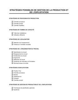 Stratégies possibles de gestion de la production et des opérations