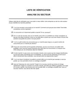 Liste de vérification Analyse du secteur