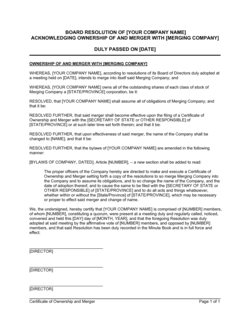 Board Resolution Acknowledging Ownership of and Merger with Company