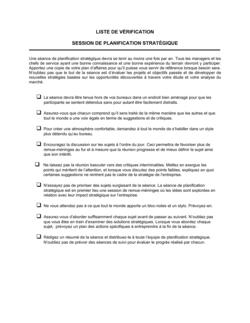 Liste de vérification Pour la tenue d'une session de planification stratégique