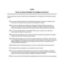 Liste de vérification Pour le développement de normes de service