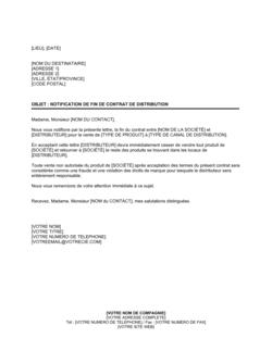 Notification de fin de contrat de distribution