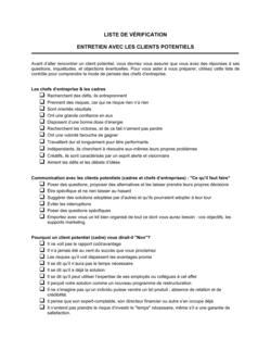 Liste de vérification Entrevue avec les prospects