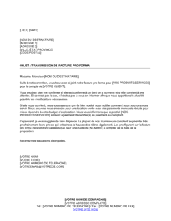 Lettre de transmission de facture proforma
