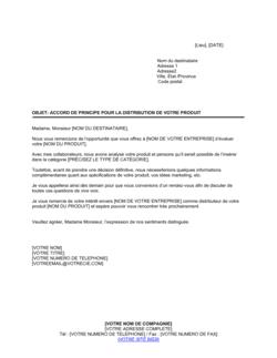 Accord préliminaire pour distribution de produits