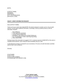 Credit Information Request