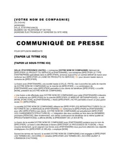 Communiqué de presse Annonce de la fusion