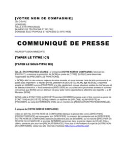 Communiqué de presse Annonce de promotion d'employé
