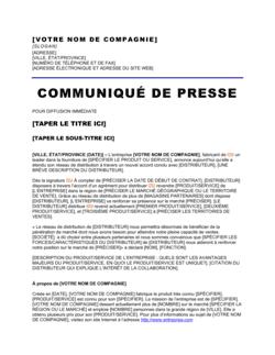 Communiqué de presse Développement d'un nouveau réseau