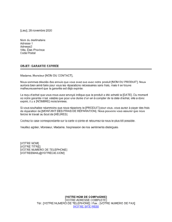 Notification d'expiration de garantie