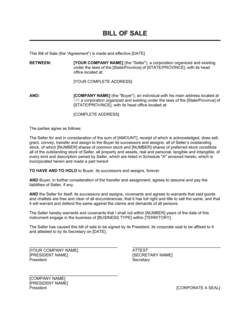 Bill of Sale for Corporations