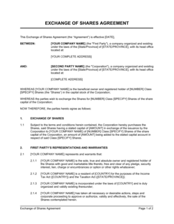 Exchange of Shares Agreement