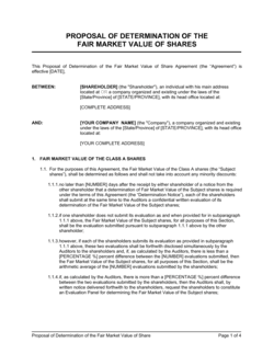 Proposal of Determination of the Fair Market Value of Share