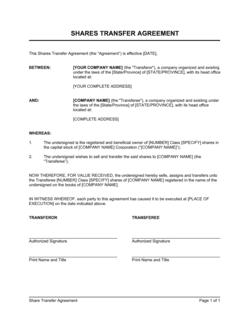 Shares Transfer Agreement Short