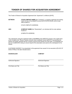 Tender of Shares for Acquisition