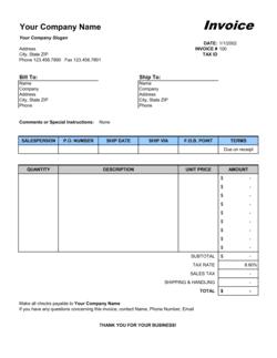 Sales Invoice - Excel