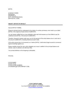 Notice of Default in Payment