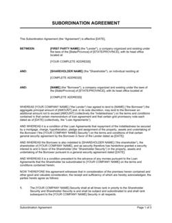 Subordination Agreement Private Companies