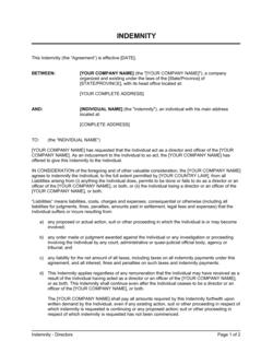 Indemnity for Directors Short Form