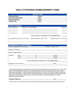Reimbursement Form Medical Expenses