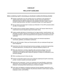 Checklist Pre-Layoff