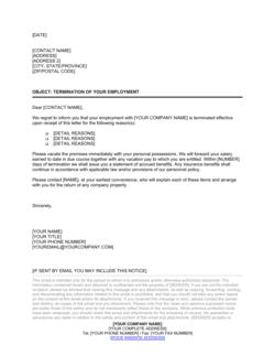 Employee Dismissal Letter