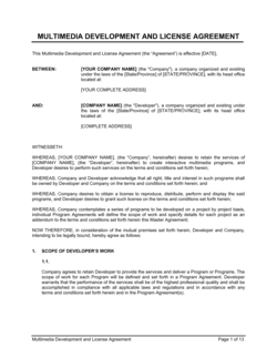 Multimedia Development and License Agreement