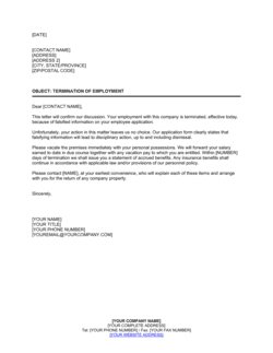 Notice of Termination False Employee Information