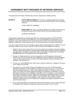 Agreement with Provider of Network Services
