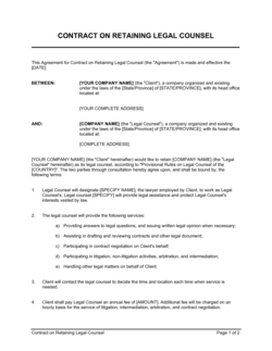 Contract on Retaining Legal Counsel