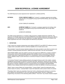OEM Reciprocal License Agreement