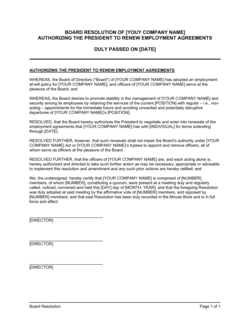 Board Resolution Authorizing Agreements Renewal
