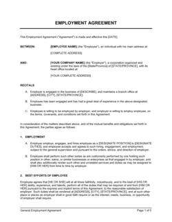 Employment Agreement General