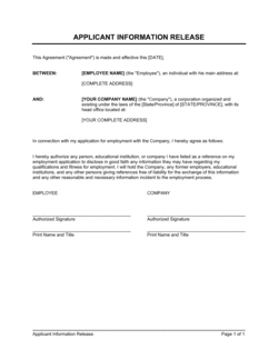 Information Release Authorization