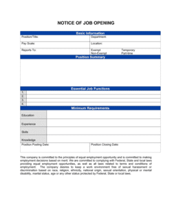 Notice of Job Opening Form
