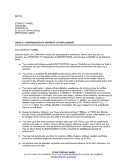 Letter Confirming Employment Terms