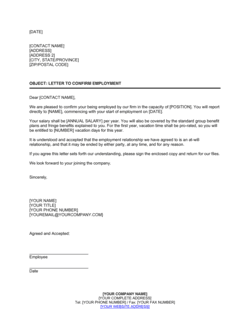 Letter Confirming Employment