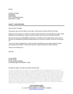 Decline to Interview Referred Job Applicant