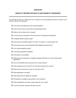 Checklist Health and Disability Insurance