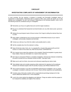 Checklist Investigating Complaints of Harassment