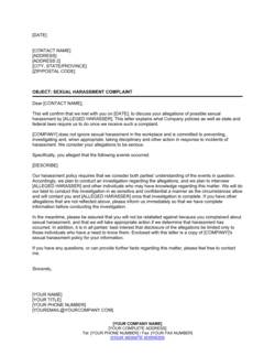 Letter to Sexual Harassment Complainant