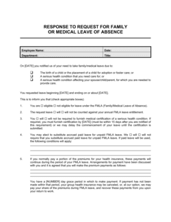 Response to Employee Request for Family or Medical Leave