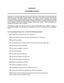 Checklist Ergonomics