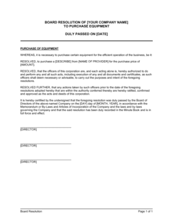 Board Resolution to Purchase Equipment